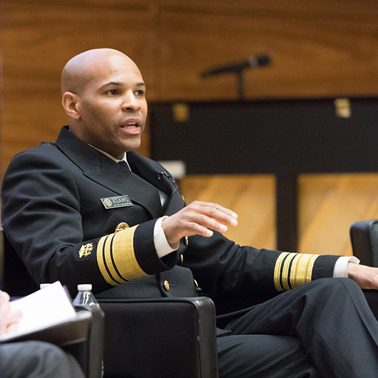 U.S. Surgeon General Jerome Adams speaks at U-M in March 2018